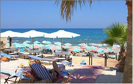 Sun terrace, beach and sea