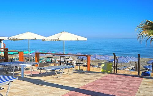 Terrace, beach and Mediterranean Sea