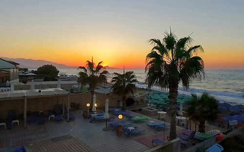 Sundown: On the beach of the ''Seafront'' at Adelianos Campos